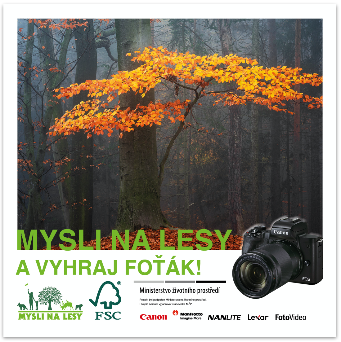 a flyer for the Mysli na lesy photo competition